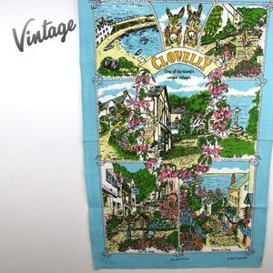 Vintage Clovelly Tea Towel Wall Hanging